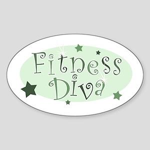 """Fitness Diva"" [green] Oval Sticker"